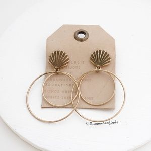 Anthropologie Seashell Hooped Post Earrings